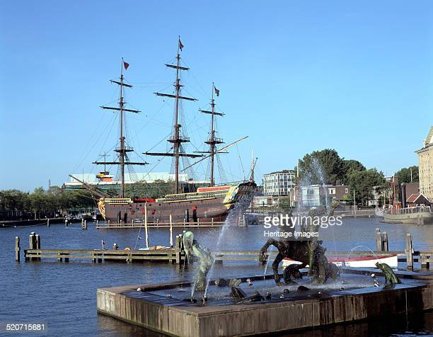 Replica Dutch East Indiaman at Scheepvaart Museum Amsterdam Netherlands The Dutch East India Company was established in 1602 to trade with Dutch...