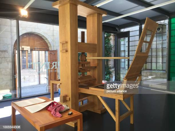 A replica Gutenberg printing press at the International Museum of the Reformation in Geneva Switzerland 29 May 2017 The homage to Johannes...