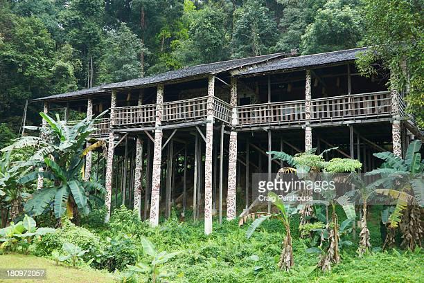 replica longhouse at sarawak cultural village - sarawak state stock pictures, royalty-free photos & images