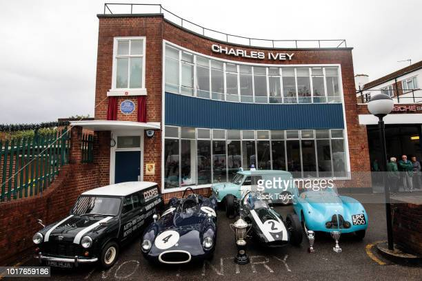 Formula One Cooper racing car from 1959 sits outside the former Cooper Car Company Works as English Heritage unveil a blue plaque to commemorate the...