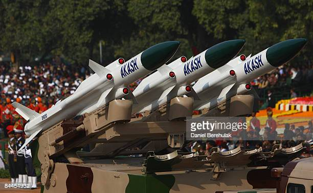 Replica missiles from the Akash Weapon System are displayed during the Republic Day Parade on January 26 2009 in New Delhi India India today...