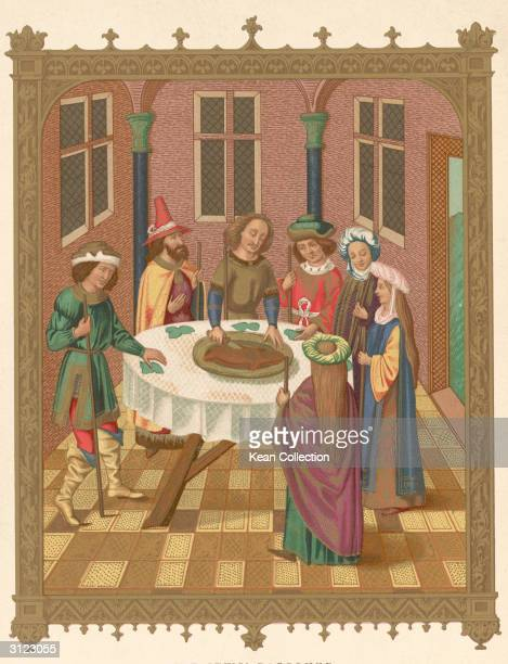A replica of a 15th century painting from the school of Van Eyeck depicting a Jewish Passover Seder ceremony