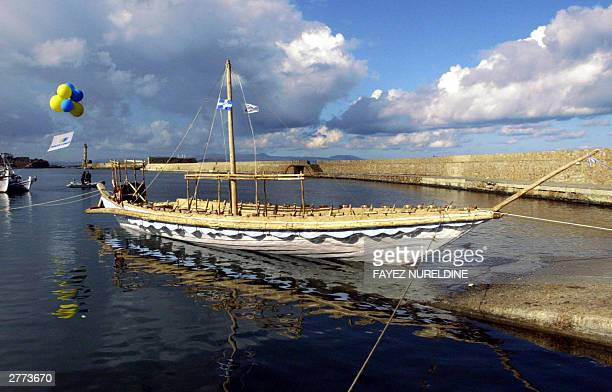 A replica of a 3500 yearold Minoan ship floats at the quayside after launching during a ceremony held in Chania on the Mediterranean island of Crete...