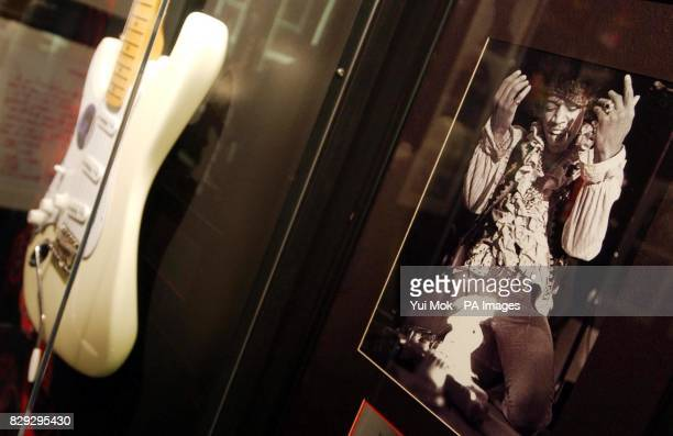 A 1977 replica of a Fender Stratocaster guitar which Jimi Hendrix played at the press preview for the exhibition 'Jimi At The Marquee' featuring the...