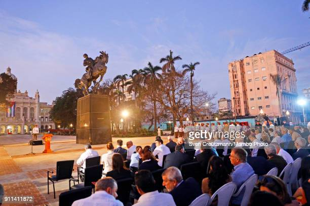 A replica of a Jose Marti statue that sits in New Yorks Central Park is seen during its unveiling in front of the Museum of the Revolution on January...