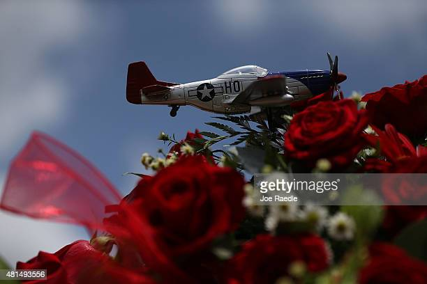 A replica of a P51 Mustang World War II fighter plane is seen during the funeral of retired Air Force Lt Col Eldridge Williams at the Sweet Home...
