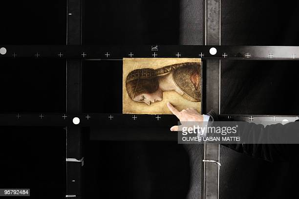 A replica of a portrait of a girl belonging to a private collector which may be a previously unrecognised work by Leonardo da Vinci is seen on...