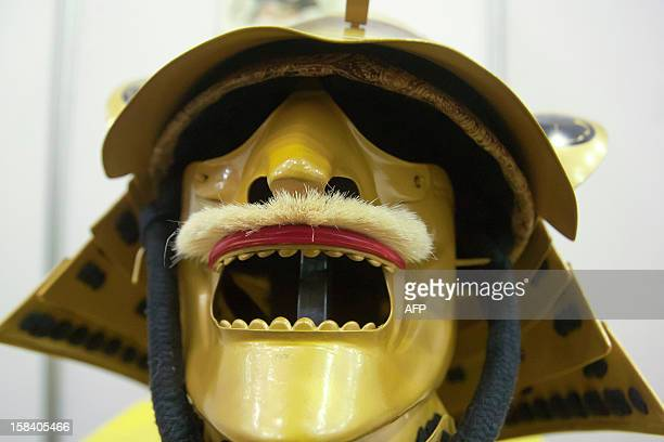 Replica of a Samurai mask worn in the XII century during the 'Japan and its Ancestral Warriors' exhibition in Monterrey Mexico on December 15 2012...