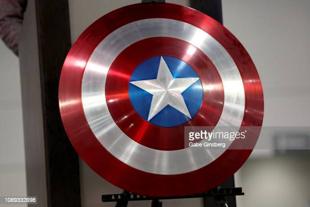 A replica of a shield used by the character Captain America in The Avengers movie franchise is on display at a celebration of life and legacy of...