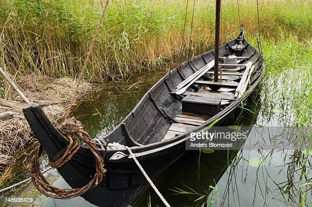 Replica of a small Viking boat at Birka.