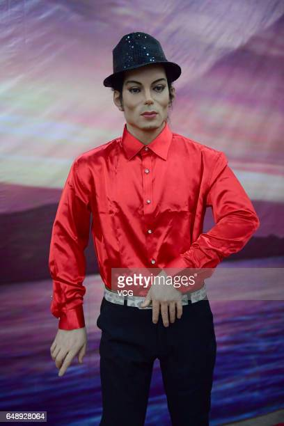 A replica of American singer Michael Jackson's wax figure seen at a wax museum on March 6 2017 in Shenyang Liaoning Province of China A wax museum...
