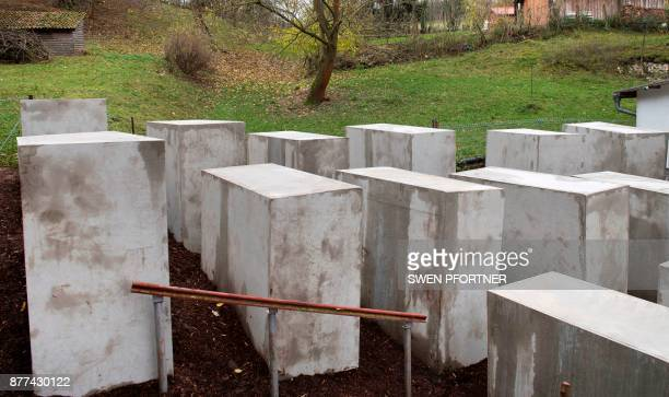 A replica of Berlin's Holocaust Memorial that was secretly erected overnight near the home of farright AfD politician Bjoern Hoecke is pictured on...