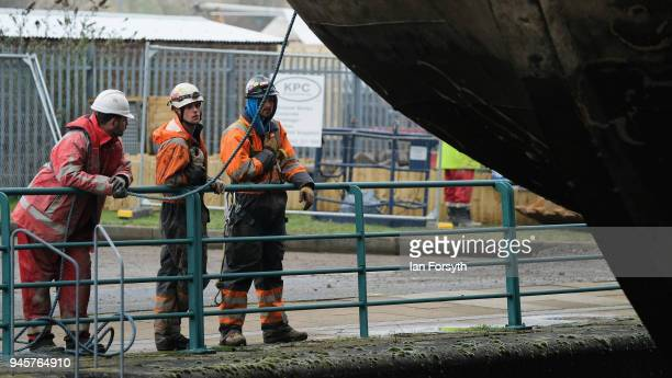 A replica of Captain Cook's famous ship HM Bark Endeavour is hoisted by crane over the lock gates on the River Tees barrage as it undergoes...