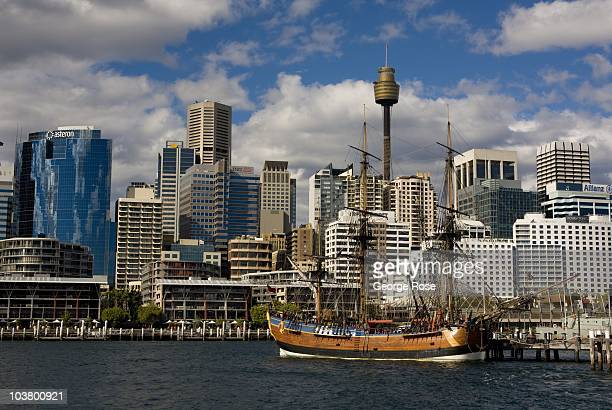 A replica of Captain James Cook's ship 'The Endeavour' is moored in Darling Harbour on August 10 2010 Sydney Australia Sydney a major destination for...
