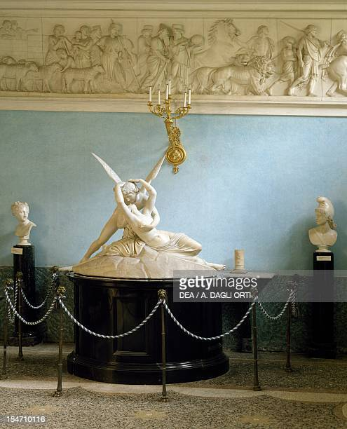 Replica of Cupid and Psyche by Antonio Canova 18181820 and Adamo Tadolini part of the exhibition of artworks inside the Marble Hall Villa Carlotta...