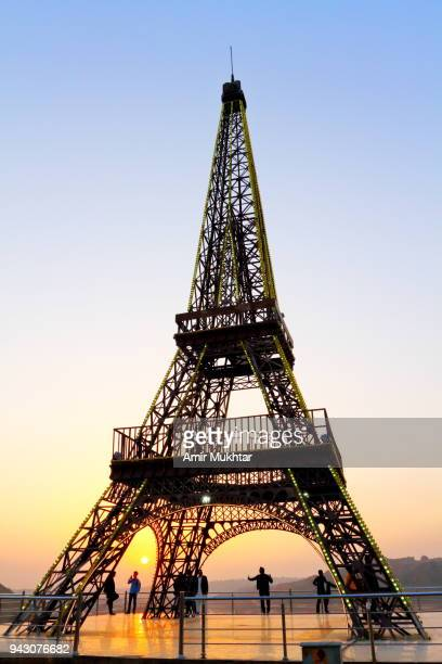 replica of eiffel tower - amir mukhtar stock photos and pictures
