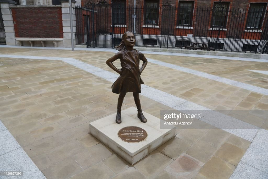 Replica of 'Fearless Girl' in London : News Photo