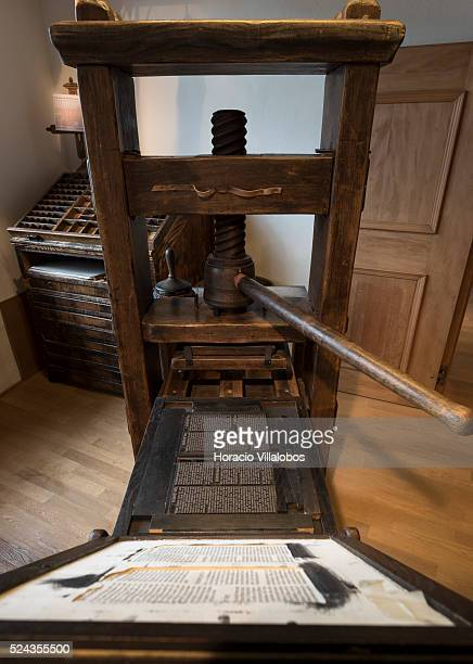 A replica of Gutenberg's printing press at the Basel Paper Mill also known as the Swiss Museum for Paper Writing and Printing in Basel Switzerland 24...