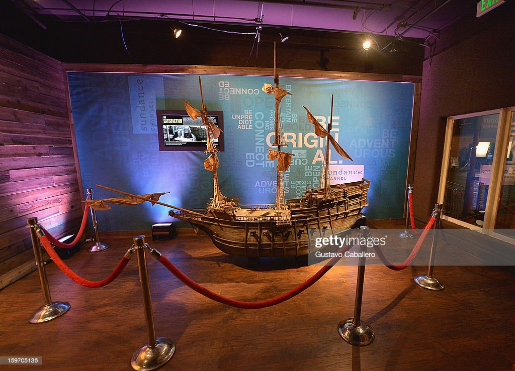 A replica of Henry Morgan's flagship, The Satisfaction, is on display at an exclusive screening of The Unsinkable Henry Morgan at Sundance Film Festival on January 18, 2013 in Park City, Utah.