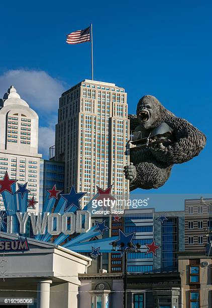 A replica of King Kong is viewed climbing a building at the Hollywood Wax Museum located along The Parkway on October 18 2016 in Pigeon Forge...