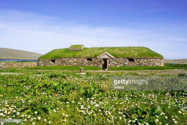 Replica of Norse Viking longhouse at Brookpoint Unst Shetland Islands Scotland UK