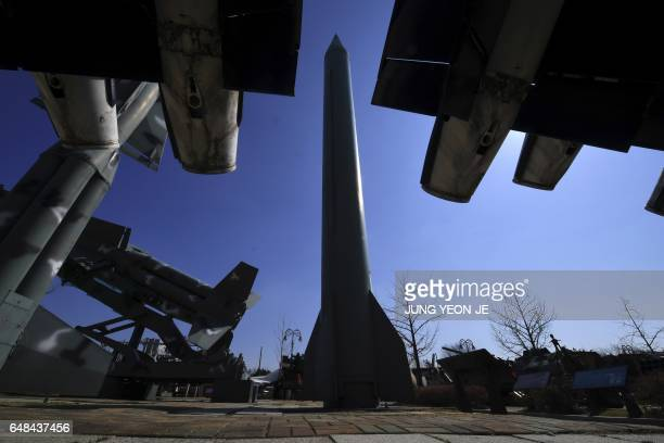 A replica of North Korean ScudB missile is displayed at the Korean War Memorial in Seoul on March 6 2017 Nucleararmed North Korea launched four...