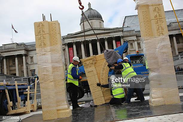 A replica of Palmyra's 2000yearold 'Arch of Triumph' is constructed in Trafalgar Sq on April 18 2016 in London England Experts from Oxford and...