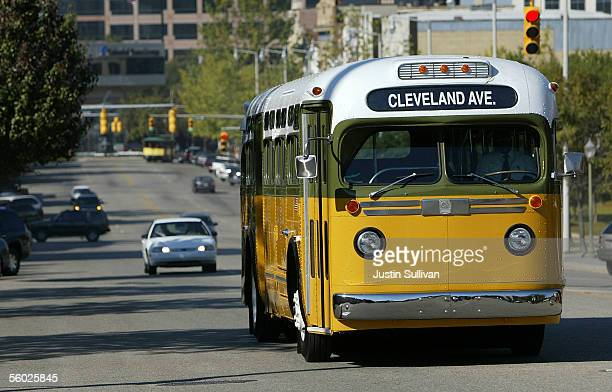 A replica of the bus that civil rights icon Rosa Parks rode on December 1 drives down Dexter Street October 28 2005 in Montgomery Alabama Rosa Parks...