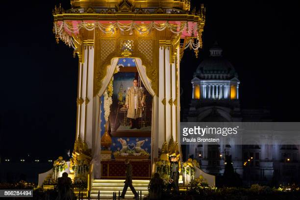 A replica of the cremation tower is seen before the historical cremation of Thailand's King Bhumibol on October 25 Bangkok Thailand The funeral of...