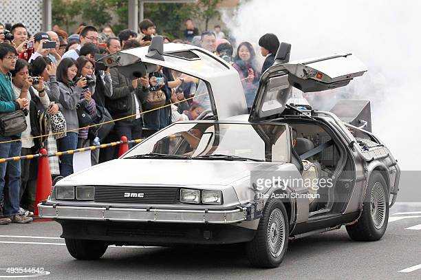 Replica of the 'De Lorean Time Machine' is displayed on the Back to the Future day at Aeon Lake Town on October 21 2015 in Koshigaya Saitama Japan