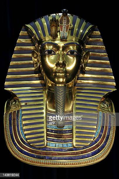 A replica of the death mask of Egyptian pharaoh Tutankhamun is on display on April 8 2009 at the exhibition 'Tutankhamun His Tomb and his Treasures'...