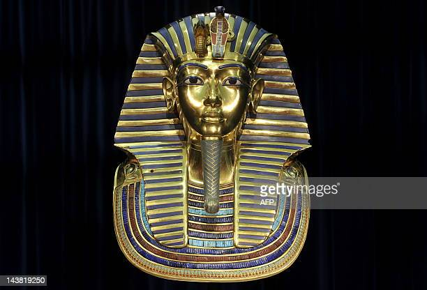 """Replica of the death mask of Egyptian pharaoh Tutankhamun is on display on April 8, 2009 at the exhibition """"Tutankhamun - His Tomb and his Treasures""""..."""