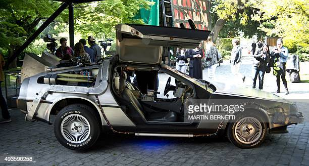 A replica of the DeLorean a timemachine vehicle which appeared in the movie ' Back to the Future'' in 1985 is displayed during an anniversary event...
