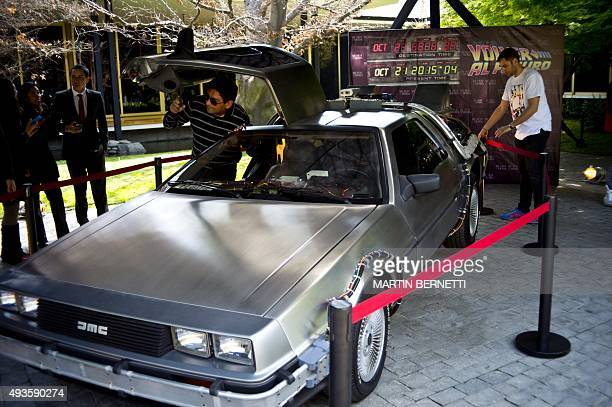 A replica of the DeLorean a timemachine vehicle which appeared in the movie Back to the Future'' in 1985 is displayed during an anniversary event at...