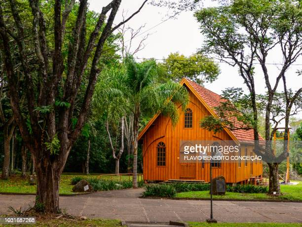 replica of the first catholic wooden church in the city of londrina in brazil built at the state university of londrina - state stock pictures, royalty-free photos & images