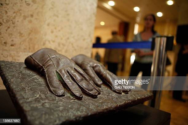 A replica of the gloves that were used by an Israeli Mossad agent during the capturing of Adolf Eichmann in Argentina in 1960 is displayed at an...