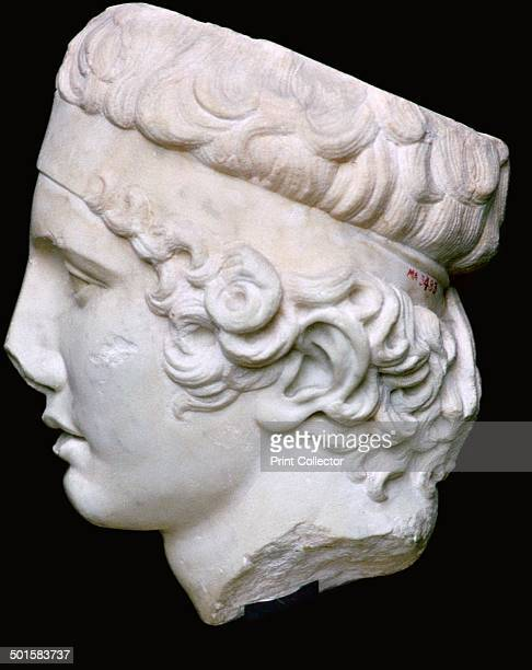 A replica of the head of the Diadumenos or ribbontier after a bronze by Polykleitos From the Louvre's collection 5th century BC