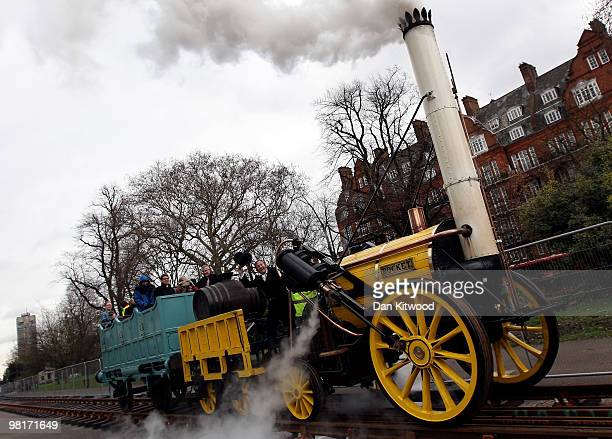 Replica of the iconic Stephenson's 'Rocket' steam locomotive takes visitors on a short ride in Kensington Gardens on March 31 2010 in London England...