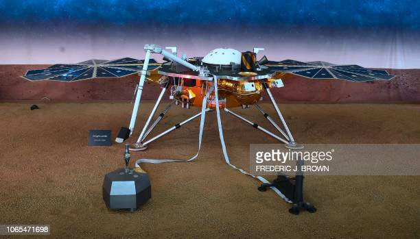 A replica of the InSight Mars Lander is on display at the NASA Jet Propulsion Laboratory in Pasadena California on November 26 2018 as excitement...