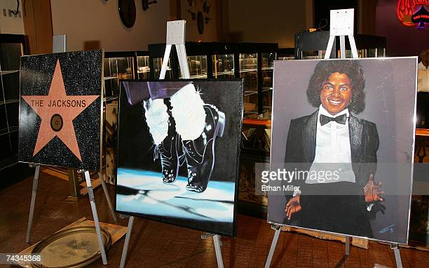 "Replica of The Jackson family's ""Walk of Fame"" star, an original piece of artwork of Michael Jackson from 1983 and a rendering of Michael Jackson as..."