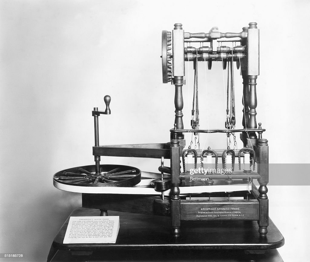 A replica of the spinning frame invented by Richard Arkwright , the ...