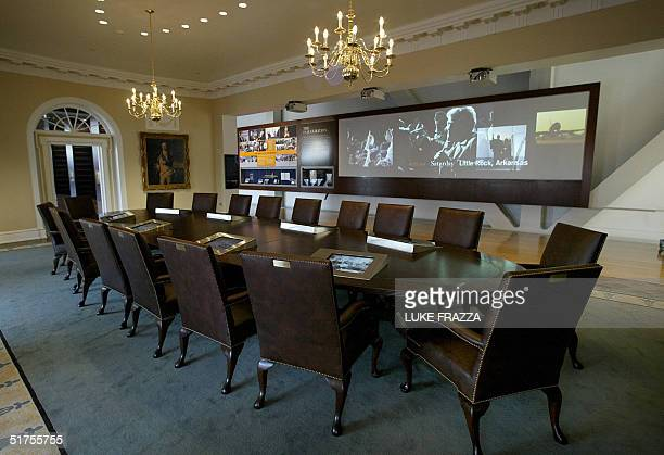 Replica of the White House Cabinet Room on display at the soon-to-be opened William J. Clinton Presidential Library in Little Rock, Arkansas 17...