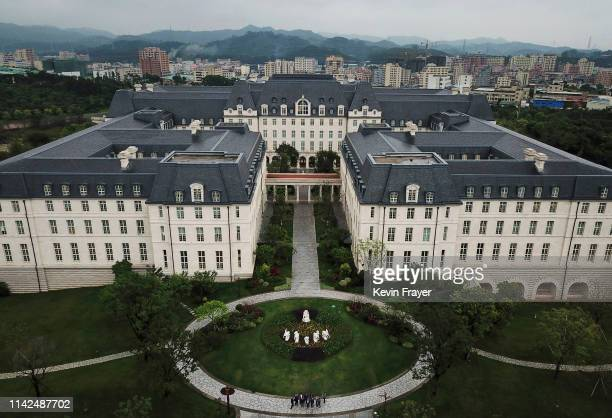 A replica of Versailles is seen in the Paris area of Huawei's new sprawling 'Ox Horn' Research and Development campus on April 12 2019 in Dongguan...