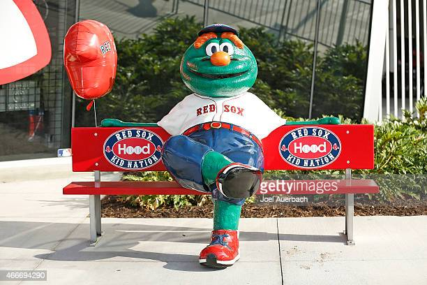 A replica of Wally the Green Monster mascot of the Boston Red Sox outside the team store prior to the spring training game against the Minnesota...