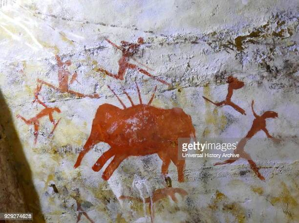 Replica painting from the Cave of Altamira located near the historic town Santillana del Mar in Cantabria Spain is renowned for its numerous parietal...