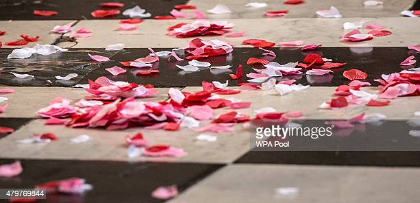 Replica poppy petals on the floor of St Paul's cathedral after they were dropped from the domed ceiling during the minute's silence at the service to...