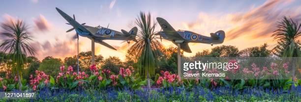 ww2 replica war planes - jackson park, windsor, ontario - gedenkveranstaltung stock-fotos und bilder