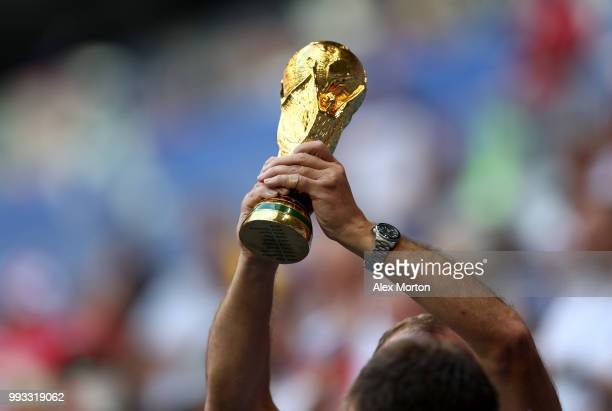 A replica World Cup Trophy is seen prior to the 2018 FIFA World Cup Russia Quarter Final match between Sweden and England at Samara Arena on July 7...