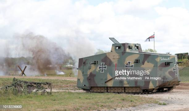 A replica World War One A7V tank takes part in a mock battle during an event at The Tank Museum in Bovington Dorset to mark the 100th anniversary of...