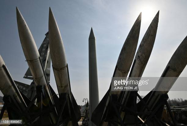 Replicas of a North Korean Scud-B missile and South Korea's Hawk missiles are displayed at the Korean War Memorial in Seoul on March 24, 2021.